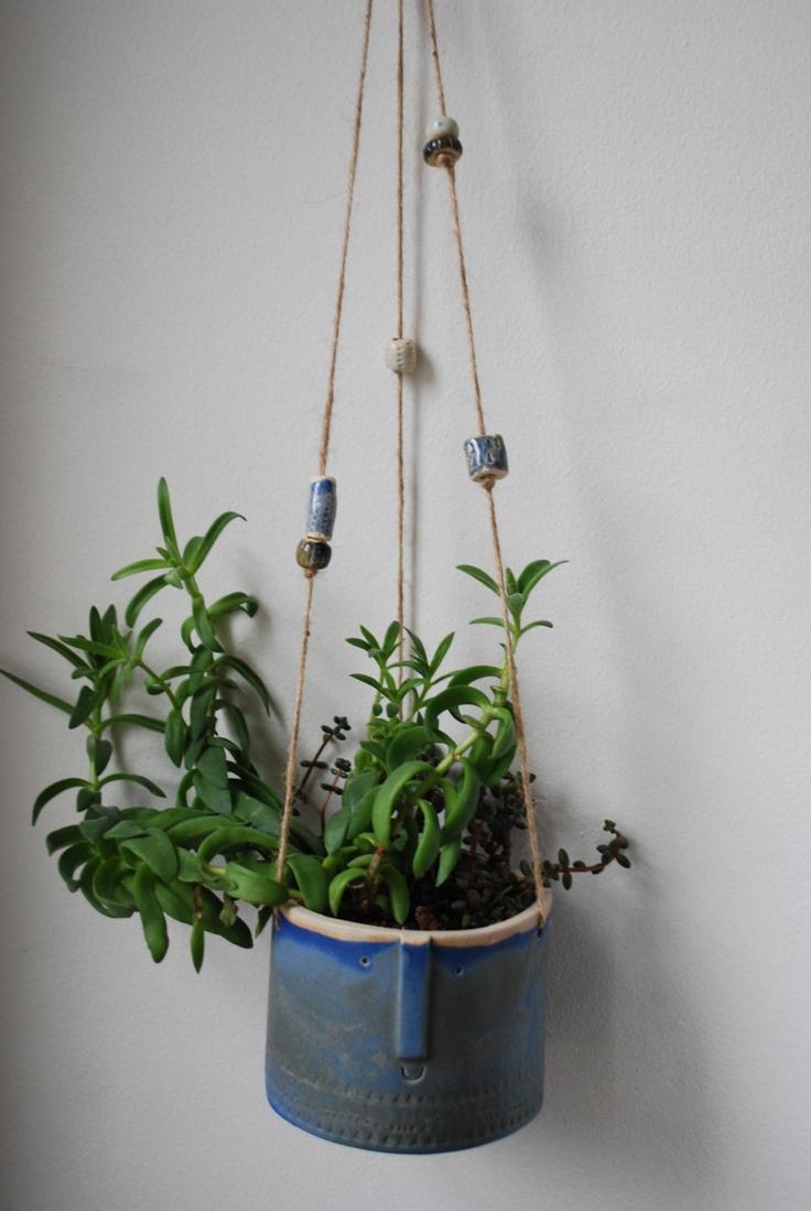 Large handmade ceramic hanging pot with beads. #LuisaBrimble