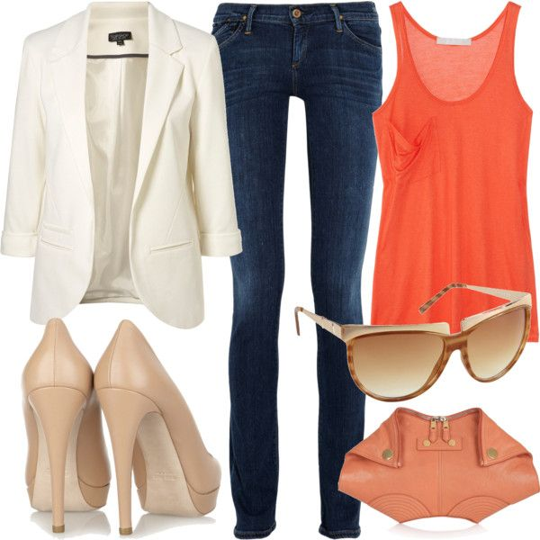 .: Coral, Casual Friday, Woman Fashion, White Blazers, Style, Cute Summer Outfit, Nude Heels, Work Outfit, Spring Outfit