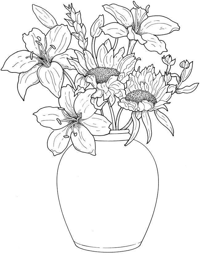 Floral Flower Vase Free Printable Coloring Page By Dover Publications Flower Coloring Pages Coloring Books Flower Drawing