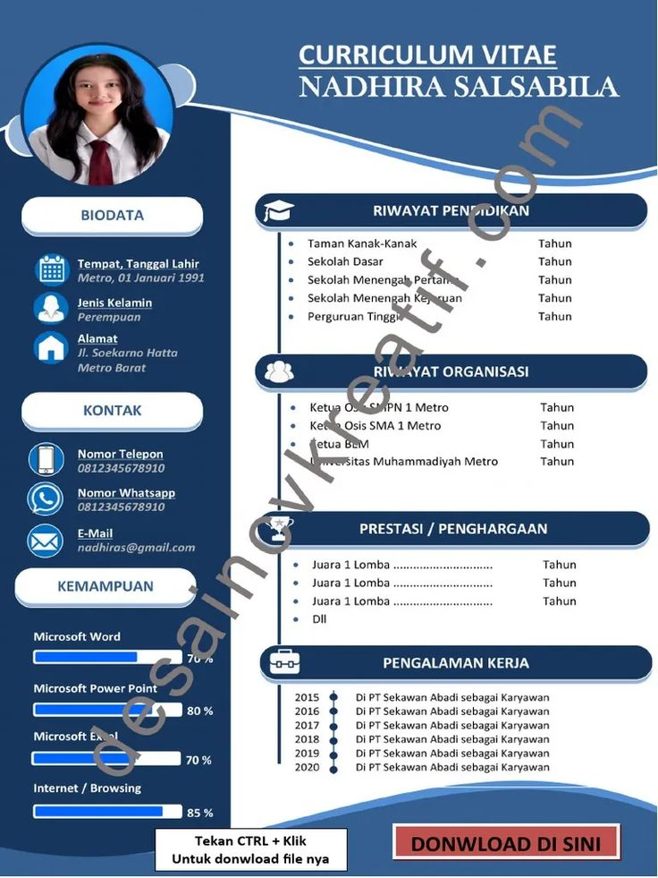 Pin by Desain CV Kreatif on Cv words in 2020 Cv design