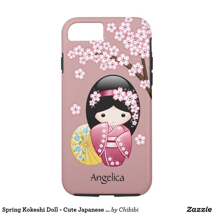 Spring Kokeshi Doll - Cute Japanese Chibi Geisha on Pink iPhone 8/7 Case. #cute #chibi #iphone #cases