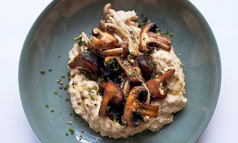 Nigel Slater's sautéed mushrooms and butter bean mash recipe on a plate