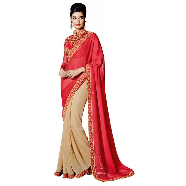 Pink and Beige Georgette Indian #Saree With Blouse- $47.10