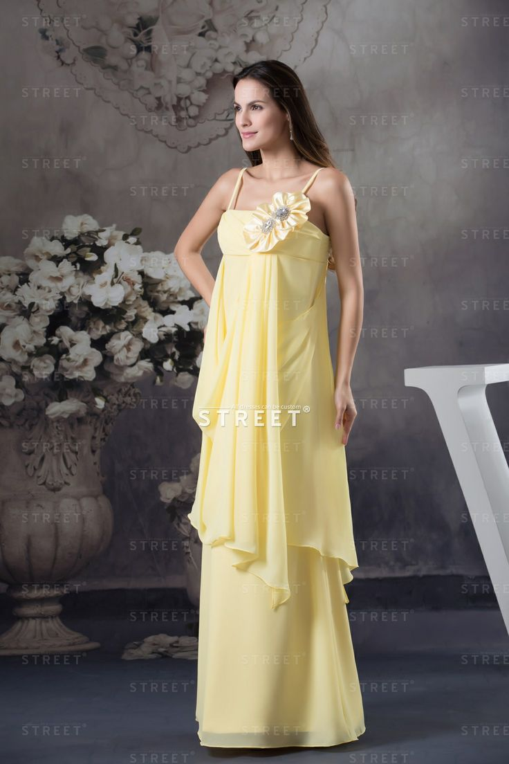 the charm for guest in wedding juniors wedding guest dresses Bright Unique Yellow Spaghetti Straps Empire Floral Floor length Junior Wedding Guest Dress
