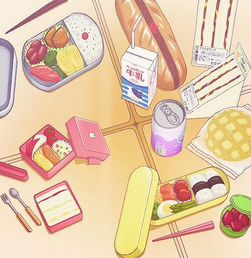 Kawaii bento boxs with friends