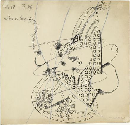 """Johannes Baargeld,Factory,(1920). Ink and crayon on paper, 133/4 x 141/4"""" (34.8 x 36.1cm)."""