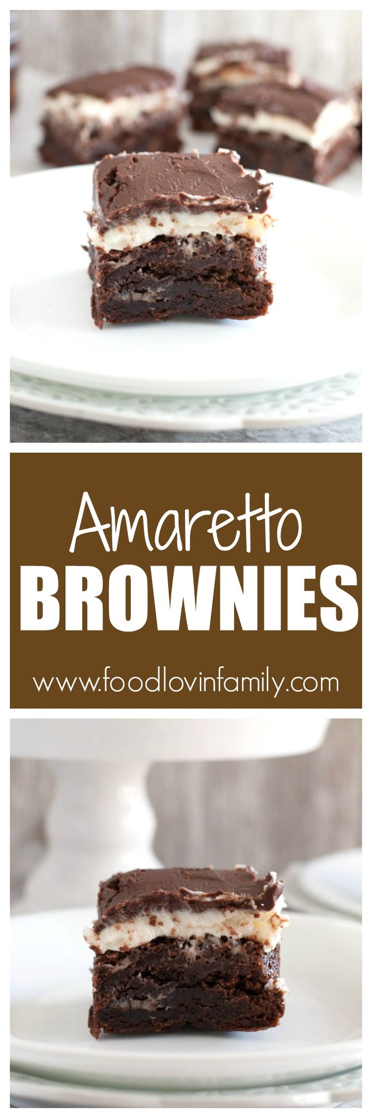 Amaretto Brownies. Fudgy brownies topped with Amaretto Frosting and chocolate ganache.|Brownies|