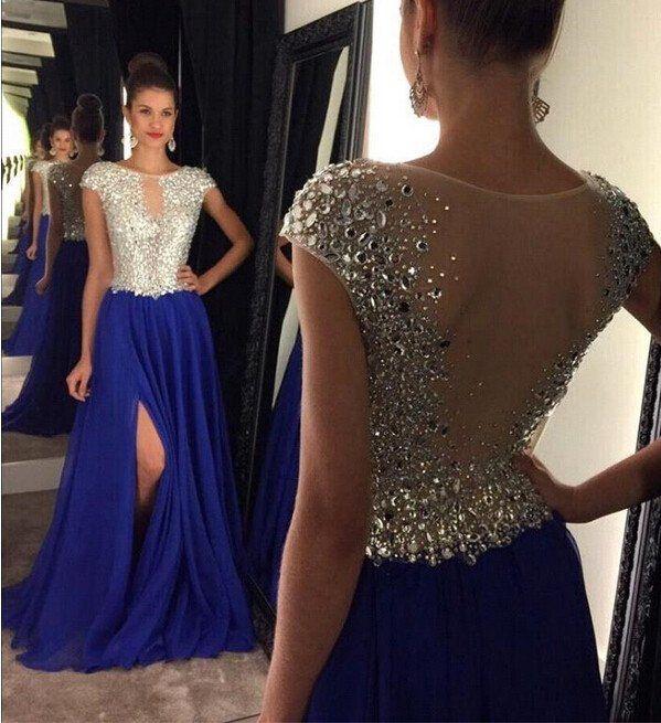 Royal Blue See Through Prom Dress, Royal Blue Long Prom Dress, Beaded – SposaDesses