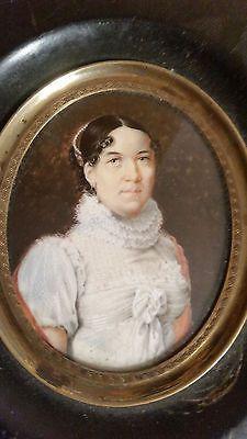 PORTRAIT MINIATURE 1813 JC SCHOELLER  NE A RIBEAUVILLE ALSACE
