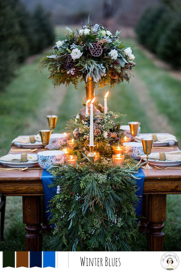 Blue winter wedding colour palette