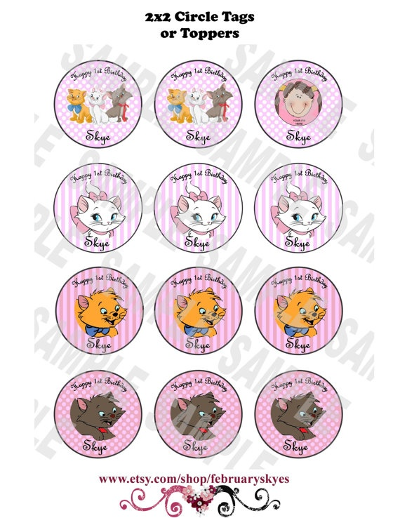 Aristocats Marie Paris Theme Printable 2 inch by februaryskyes, $6.00