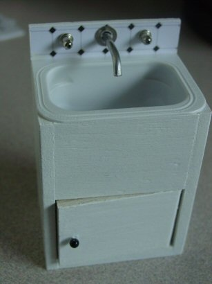 How to make a Laundry Sink –  from balsa, earring oddments and a cheese spread container