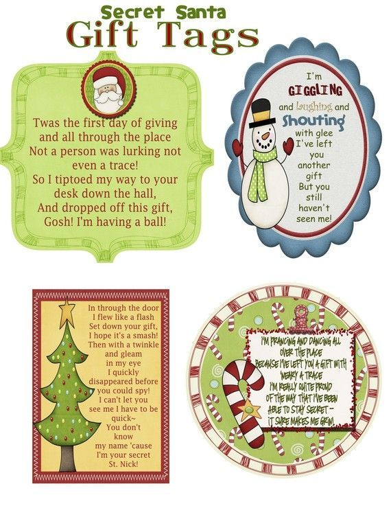 What a great way to keep your identity secret during your annual Secret Santa Gift Exchange this year--- you can buy these tags, complete with poems for each of the first 4 days of the week, print them at home and attach them to your gifts! No one will spoil the surprise by guessing your handwriting on their gifts!  THIS IS A PDF File--- there is also a listing for a JPG file if that is easier for you to print.  ~*~*~*~*~*~*~*~*~*~*~*~*~*~*~*~*~*~*~*~   Upon payment, your order will be…