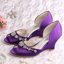 (20 Colori) Custom Handmade Peep Toe Wedge Heel Scarpe Da Sposa Raso Viola con Charms(China (Mainland))
