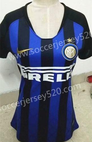 05fd56e30b0 2018-19 Inter Milan Home Black Blue Thailand Women Soccer Jersey AAA ...