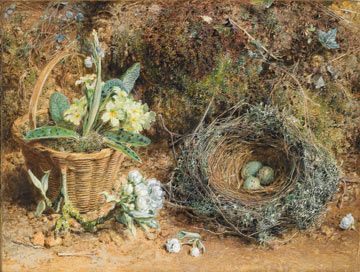 Still life painting of flowers in a basket on the ground next to a nest containing 3 eggs