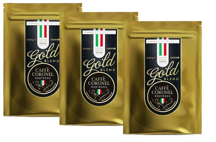 Caffe Coronel Gold Blend 3kg  Caffè Coronel Gold Blend 3 kg 100% arabica en gegarandeerd vers gebrand Ontdek de unieke smaak van versgebrande koffie met de Gold Blend 3 kg van Caffè Coronel. Vanwege het speciale brandprofiel van de Gold Blend heeft de koffie een diepe volle smaak met een laag zuurtje en eigenlijk geen bitterheid. Kenmerkend voor de smaak is de typische lange en aangename nasmaak die ook wel de Brazilian Zing genoemd wordt.  100% arabiconen altijd vers gebrand De Caffè…