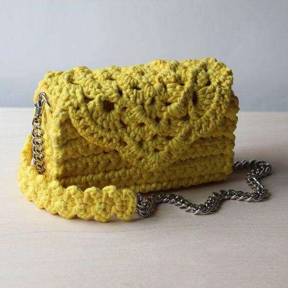 Vivid yellow crocheted lace clutch  Romantic crochet lace