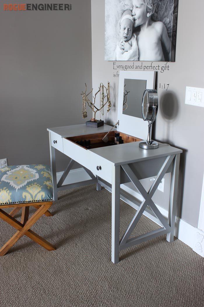Flip Top Vanity Diy makeup vanity table, Diy furniture