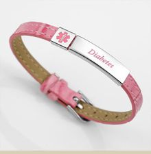 Diabetes Pink Faux Leather Buckle Bracelet With Stainless Medical Id Small Large Item Dp1299c