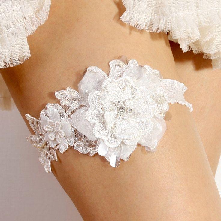 Lace Garter - Bridal garter, Wedding garter, Floral lace garter. $40.00, via Etsy.