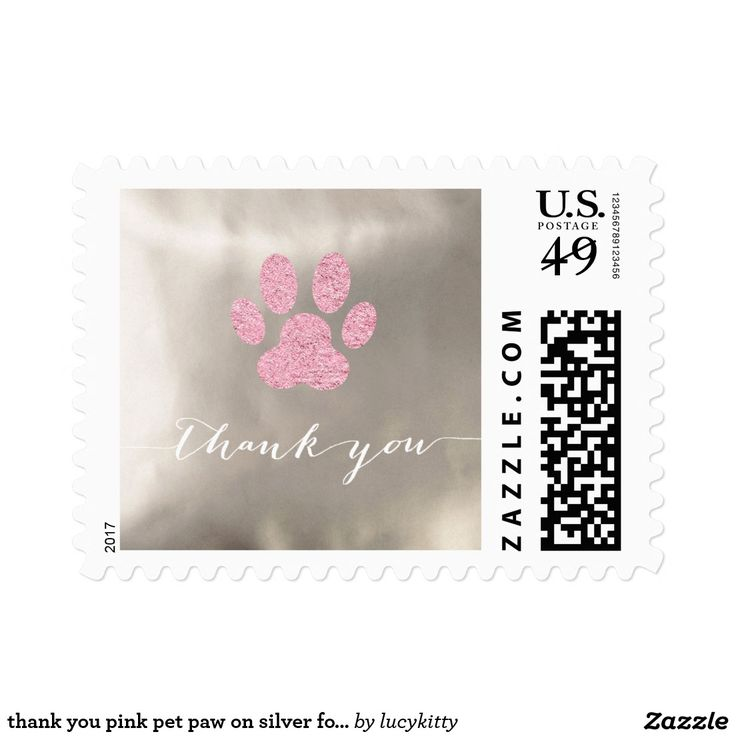 thank you pink pet paw on silver foil postage
