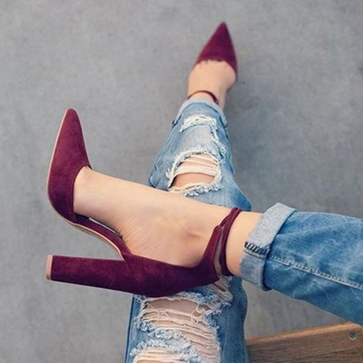 Fabulous Micro Suede Ankle Tie Block Heels (Red) solemate-mt.com