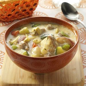 Cream Soup Recipes from Taste of Home, including Anything Goes Sausage Soup Recipe