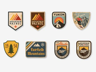 Vintage Ski Patches by Dustin Wallace  I love the vintage look of the icons and the different variations of the mountains.