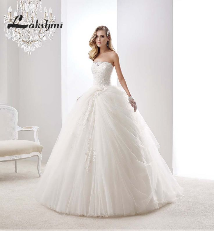 Delicate Beaded Strapless Ball Gowns Wedding Dresses Tulle Low Back China Princess Bride Dress casamento Custom Made