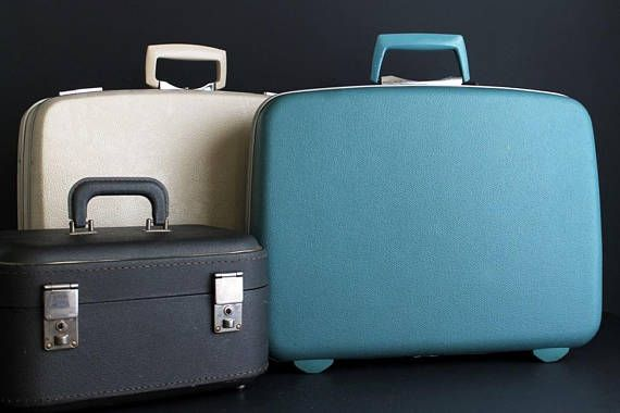 Vintage Suitcase Samsonite Hard Sided Luggage Blue Aqua 18