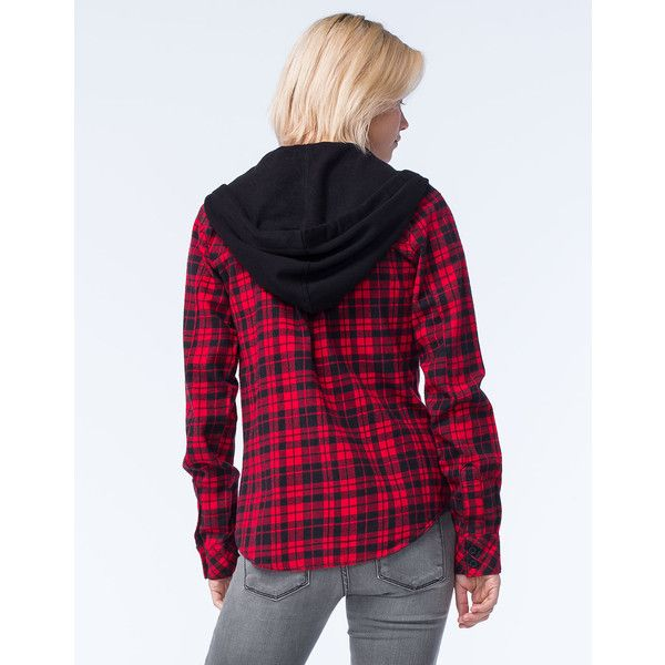 Metal Mulisha Recover Womens Hooded Flannel ($40) ❤ liked on Polyvore featuring tops, hoodies, flannel hoodie, hooded sweatshirt, flannel tops, hooded pullover and button front tops