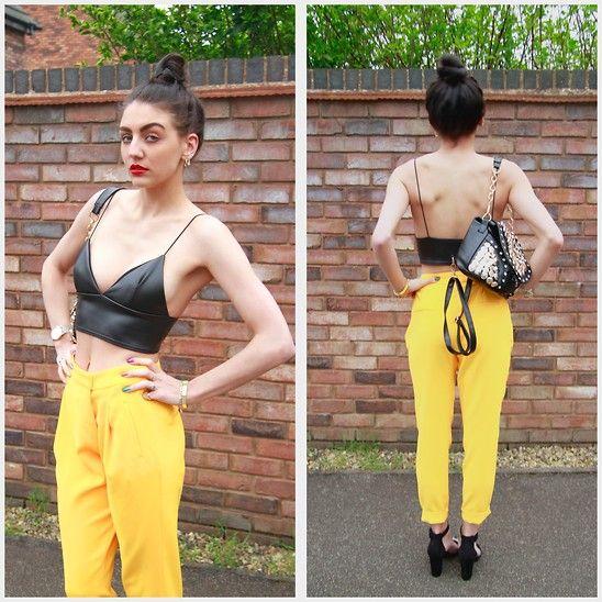 Missguided Bralet, Zara Yellow Pants, Primark Heels, Ebay Badge Bag