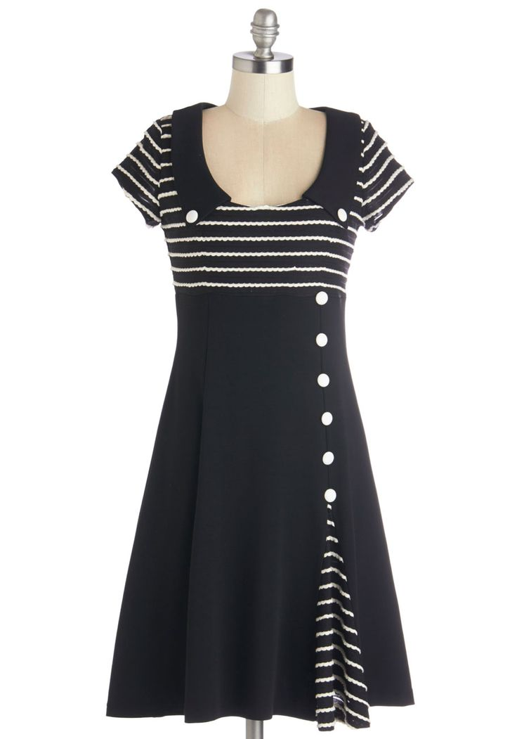 Frock Around the Clock Dress - Black, White, Stripes, Buttons, Casual, A-line, Cap Sleeves, Better, Collared, Mid-length, Knit