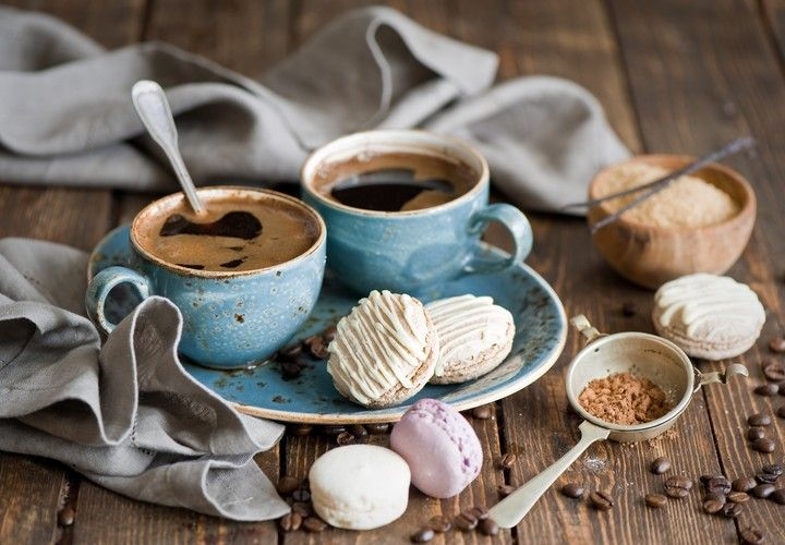 Coffee Grains Macaron Cookies Macaroon White Pink Baking Icing Sugar Vanilla Cocoa Dessert Sweet Cup Set Still Life