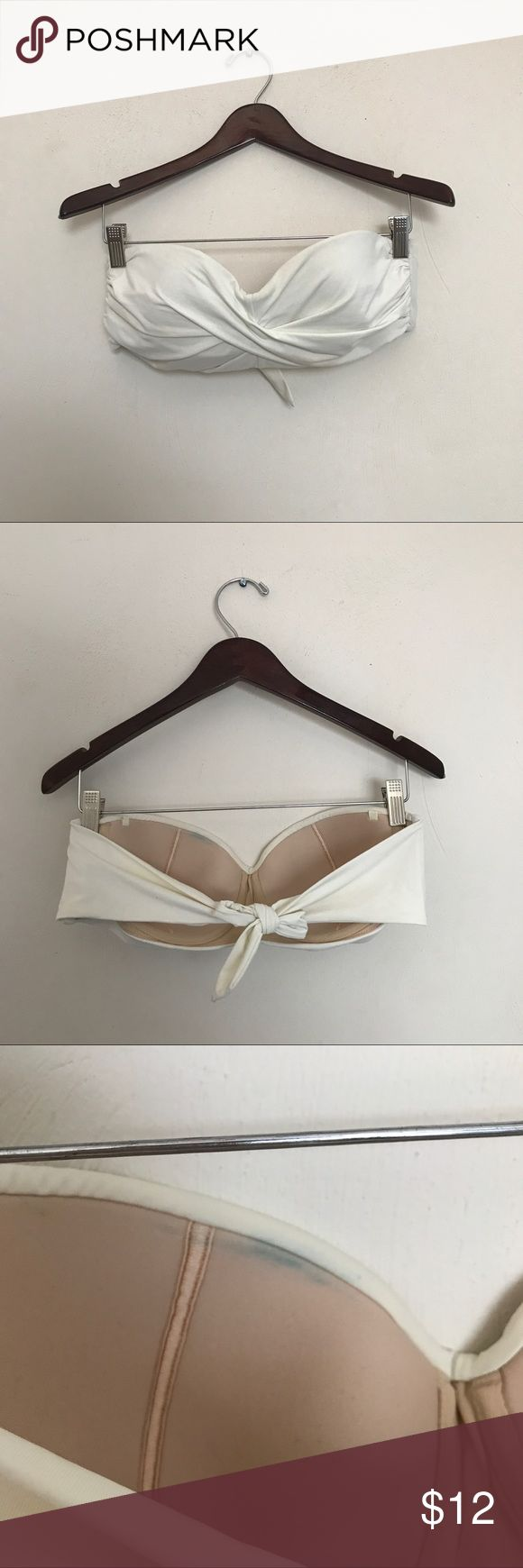 LANDS END Bikini Top Cream bandeau bikini top from Lands End in size 14.  Underwire and side boning.  Neck strap not included.  Good used condition.  Blue stain inside as pictured. Lands' End Swim Bikinis