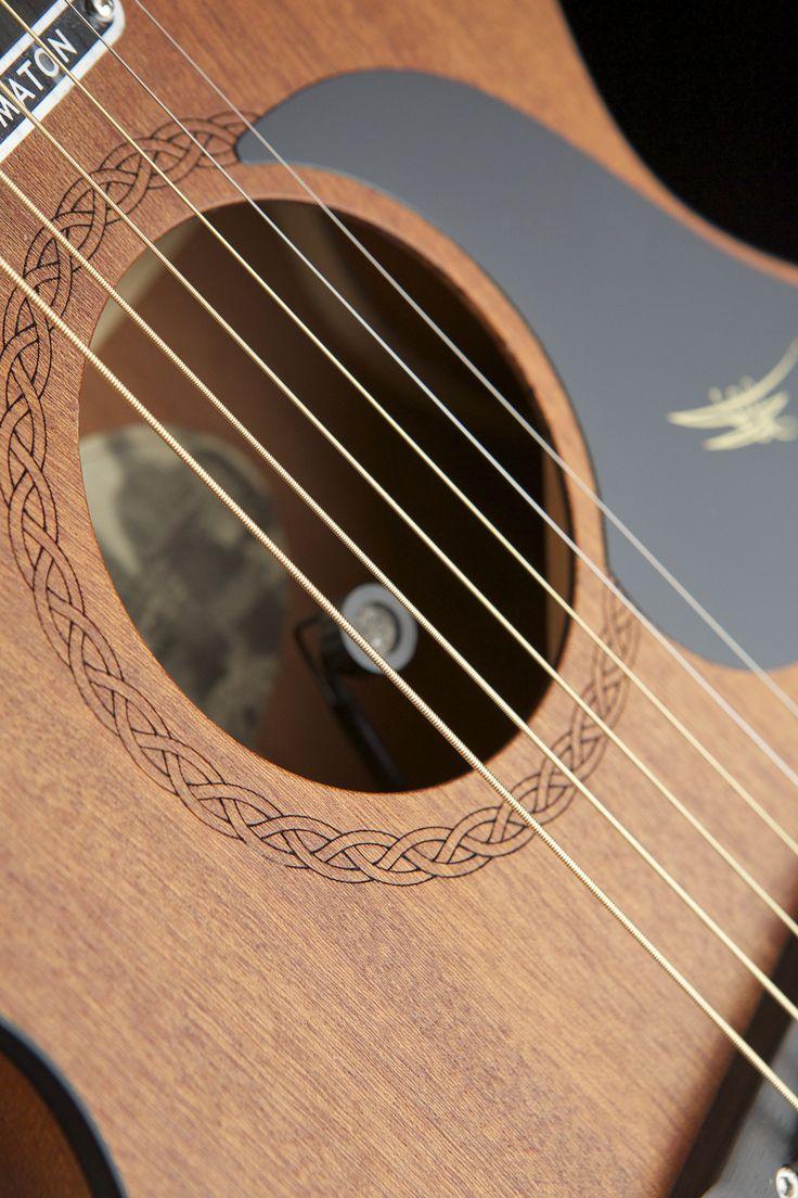 Australian, Handmade, Acoustic Mahogany Mini from Maton Guitars. Sound Hole Close-up.