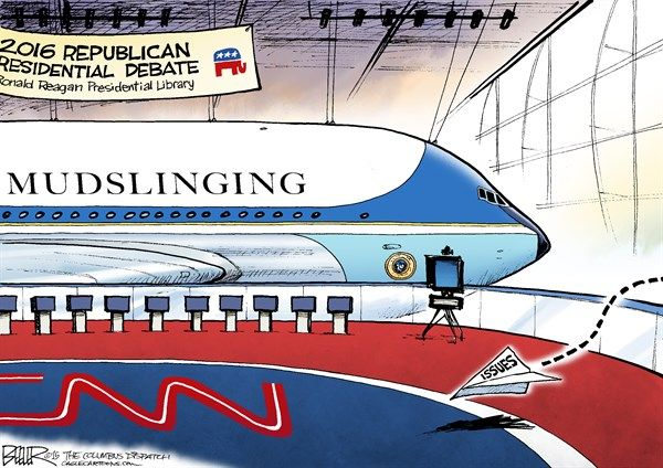 GOP Debate Planes © Nate Beeler,The Columbus Dispatch,republican, debate, 2016, plane, ronald reagan, presidential, library, politics, campaign, election, president, plane, paper, stage, cnn, donald trump