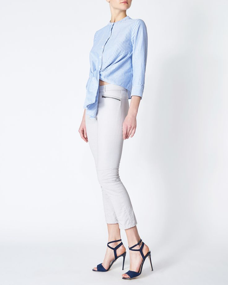 Carson Moto Pant by Veronica Beard: Flattering seam details make our Carson Moto Pant a summer must-have. Wear them with everything from nautical knits to your favorite Dickey Jacket. Available in Vintage Blue and Light Grey.