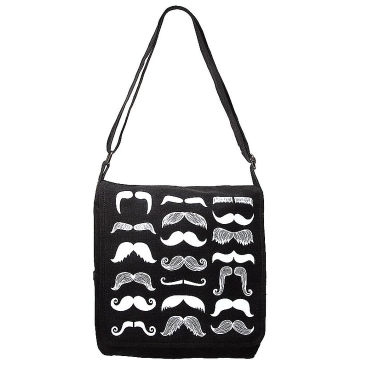 Mustache Canvas bag with White Print