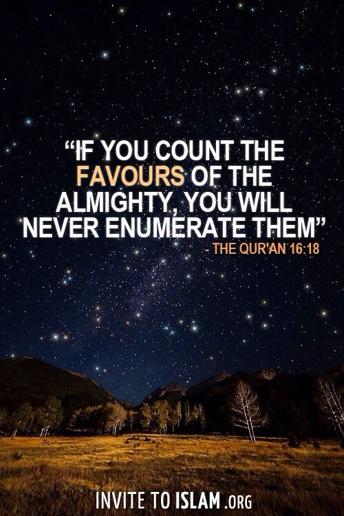 Qur'an An-Naĥl (The Bee) 16:18: And if you should count the favors of Allah , you could not enumerate them. Indeed, Allah is Forgiving and Merciful. Muslims / Quran / Islam / Allah