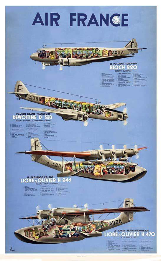 N' GERALE Air France Bloch - Dewoitine - Liore & Olivier (Hydravion)  Paris Imp. 1938 Affiche entoilée/ Vintage Poster on Linnen T.B.E. A - Océa 100 x 62  Estimation : 1 500 € - 3 000 €  #airfrance #travel #poster #affiche #plane #avion