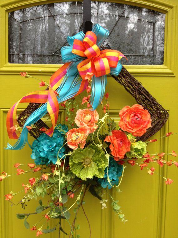 STRIKING COLOR COMBINATION Wreath, Turquoise, Orange, Lime Green, Square, Diamond Shape on Etsy, $71.95