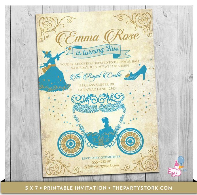 Cinderella Invitation, Cinderella Birthday Invitation, Cinderella Birthday Party, Girl Party Invites, Printable by ThePartyStork on Etsy https://www.etsy.com/listing/248666525/cinderella-invitation-cinderella