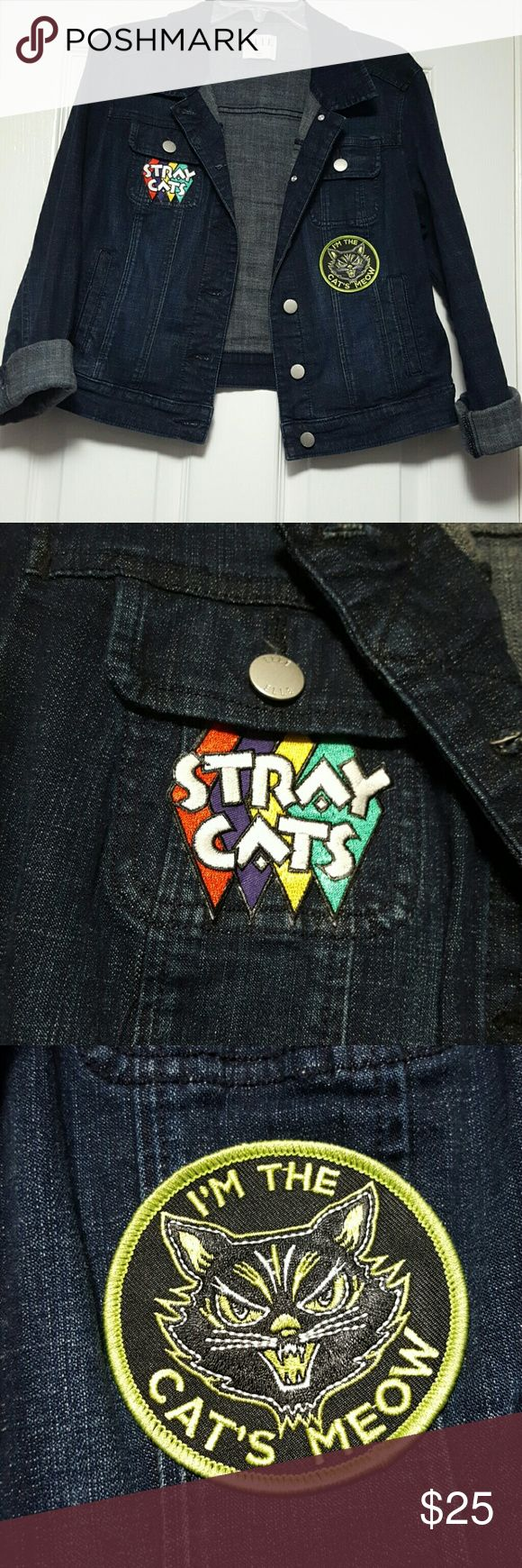 """Custom Stray Cats denim Rockabilly Jean jacket This Elle brand jacket was customized with a multicolor Stray Cats diamonds patch and a Sourpuss """"In the Cat's Meow"""" lime green and black patch. Excellent condition. Patches can be removed. Elle Jackets & Coats Jean Jackets"""