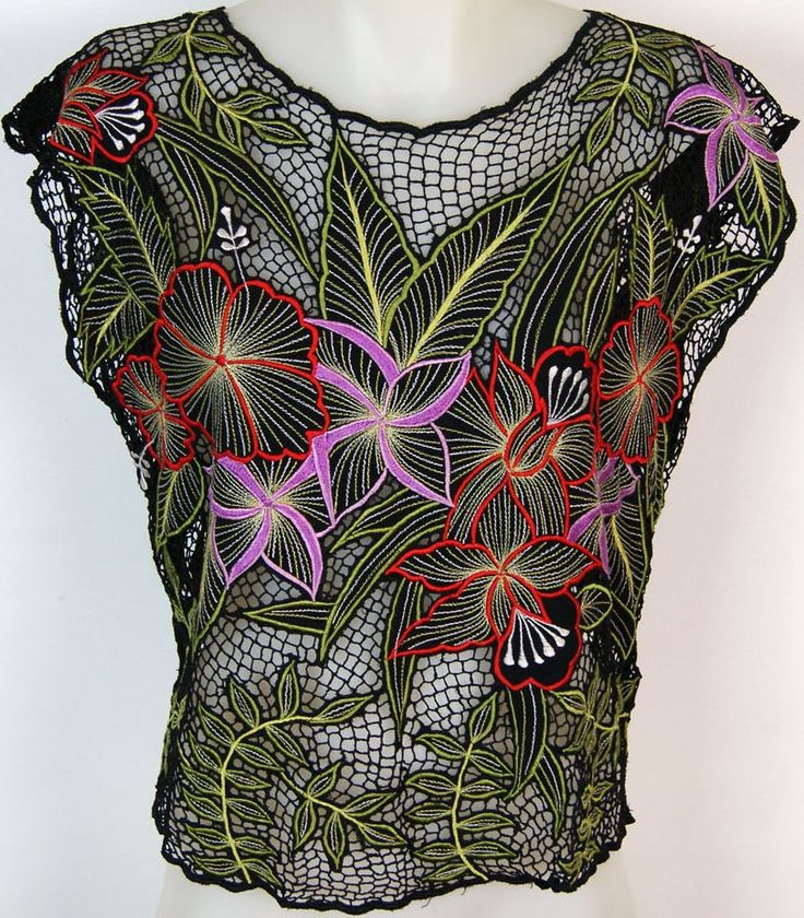 red + purple flowers on black [Bali cutwork shirt]