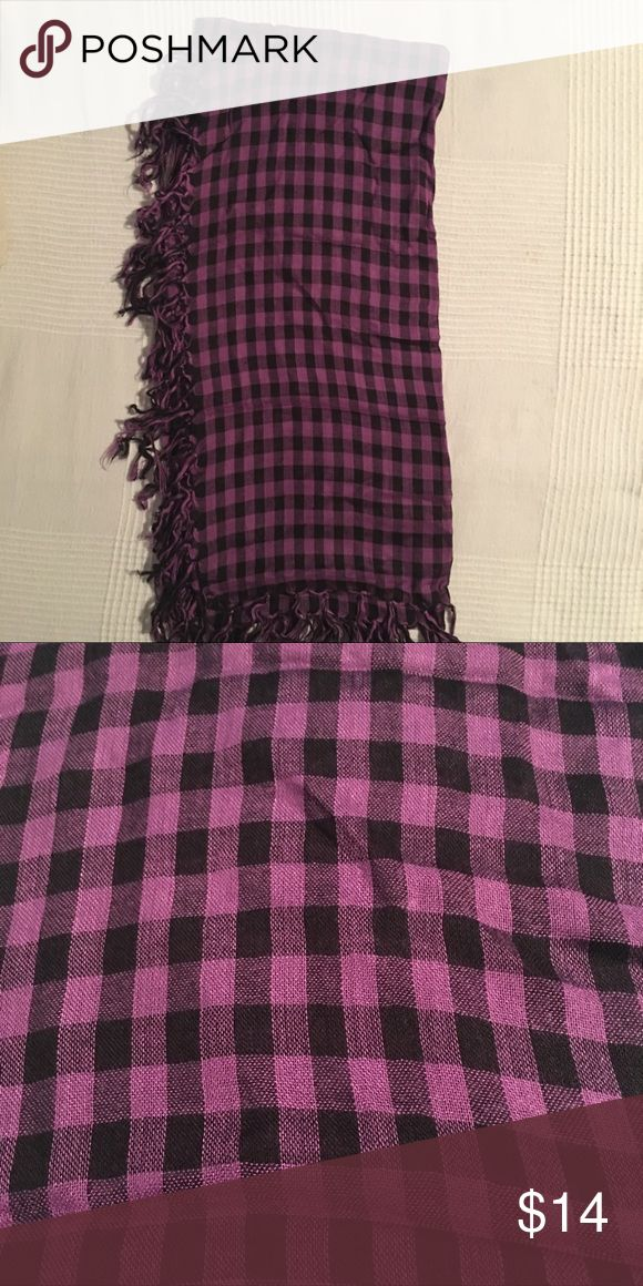 Purple and Black Gingham Scarf Purple and Black Gingham Scarf.  Large enough to be worn as a wrap/shawl. Accessories Scarves & Wraps