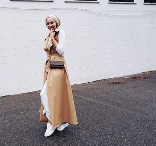 long tan vest hijab chic- Long cardigans and vests hijab trends…