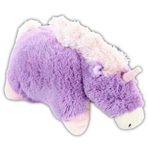 I have a unicorn pillow pet in pink. Great for lower back support and as a functional comfort item.