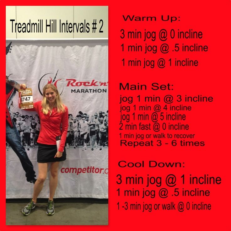 This is me at the expo for the Las Vegas 1/2 marathon in 2013. What a FUN and unique race :-) I used this interval workout during training. I often get bored on the treadmill...so I like this type of workout because it keeps me interested! Give it a try and tell me what you think!